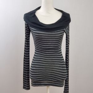 Forever 21 Black and Gray Striped Top
